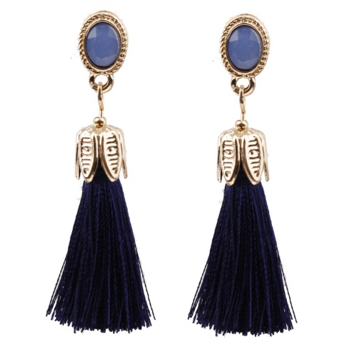 A-SD-XL0766na Navy Blue Leave Bead Tassel Bohemian Earstuds - Click Image to Close