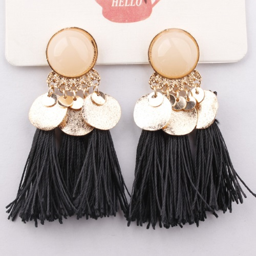 A-SD-EH104411 Black Tassel Gold Circle Tassel Statement Earstuds - Click Image to Close