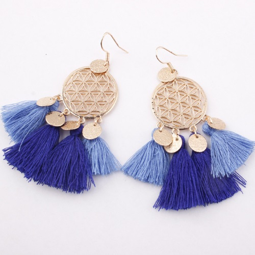 A-SD-EH116402blu Sky Blue Flower Elegant Tassel Hook Earrings - Click Image to Close