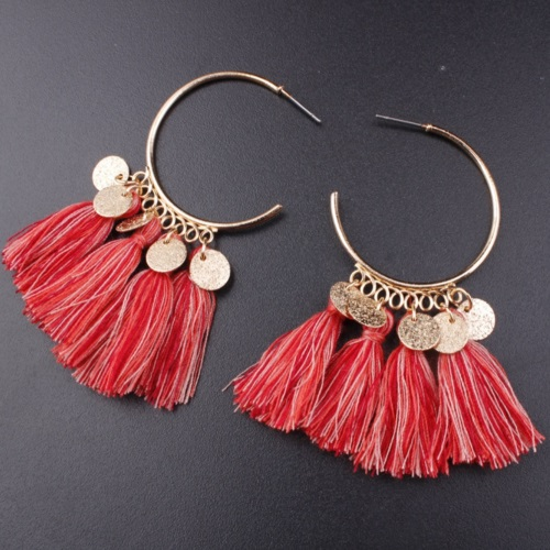 A-SD-EH0218red Red Pink Tassel Round Earstuds Wholesale Shop - Click Image to Close