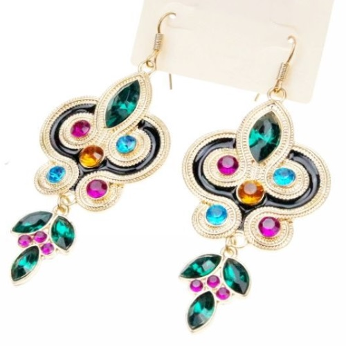 A-H2-E080 Peacock colourful crystals elegant earrings malaysia - Click Image to Close