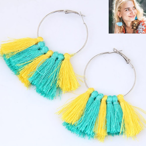 C015062590 Green Yellow Tassel Round Bohemian Earrings - Click Image to Close