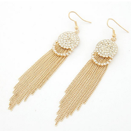 C09013162 Gold dangling chain shiny crystals round hook earrings - Click Image to Close