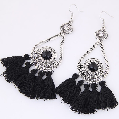 C09033681 Black Tassel Crystal Bohemian Hook Earrings Wholesale - Click Image to Close