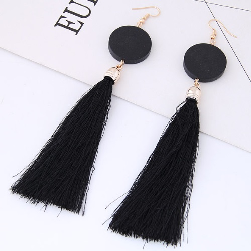 C090433215 Black Tassel Round Wooden Hook Earrings Wholesale - Click Image to Close