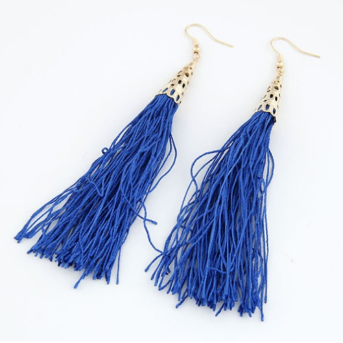C10112961 Blue Gold Dinner Elegant Tassel Earrings Malaysia Shop - Click Image to Close