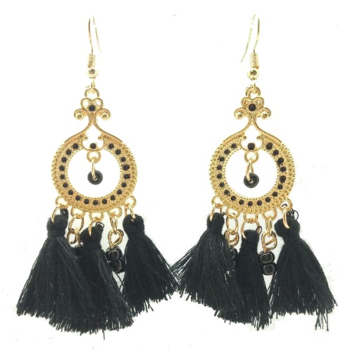 A Unk Black Round Gold Bohemian Tel Earrings Malaysia