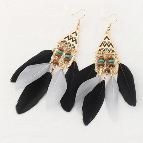 P126576 Black Grey Bohemian Feather Dreamcatcher Earrings Shop - Click Image to Close