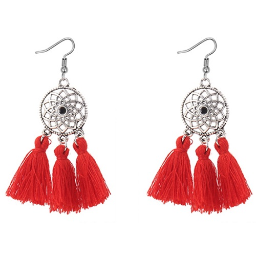 P127444 Red Pinkish Bohemian Silver Flower Tassel Earrings Shop - Click Image to Close