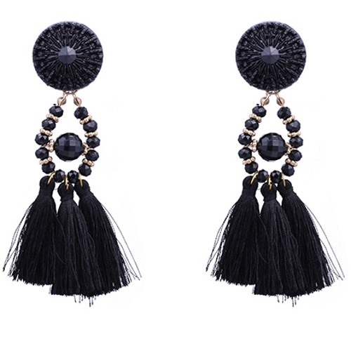 A-DW-5923Black Black Tassel Bead Bohemian Earstuds Wholesale - Click Image to Close