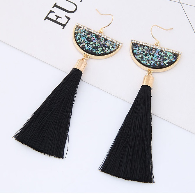 C0150712191 Black Tassel Moon Bohemian Hook Earrings Wholesale - Click Image to Close