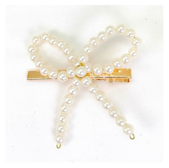 A-JW-1752ribbon Pearl Ribbon Big Cute Hairclip Fashion Shop