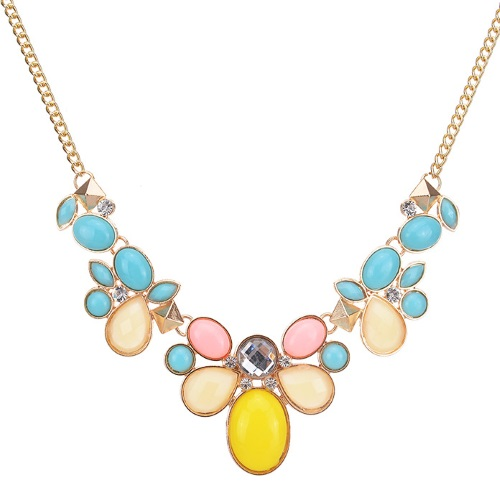 A-CJ-CZ9141 Candy flower colourful gold statement necklace - Click Image to Close