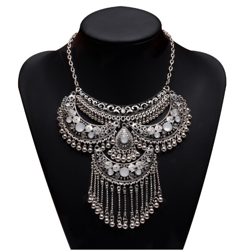 A-HD-N000667 Shiny Crystals Bead Charms Statement Necklace - Click Image to Close