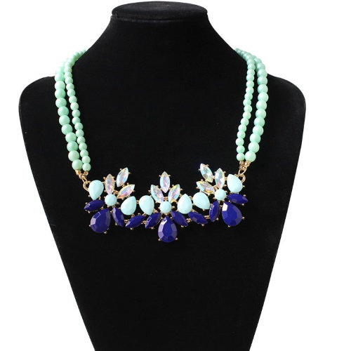 A-HY-ON309 Blue Spring Crystals Bead Choker Necklace Malaysia - Click Image to Close