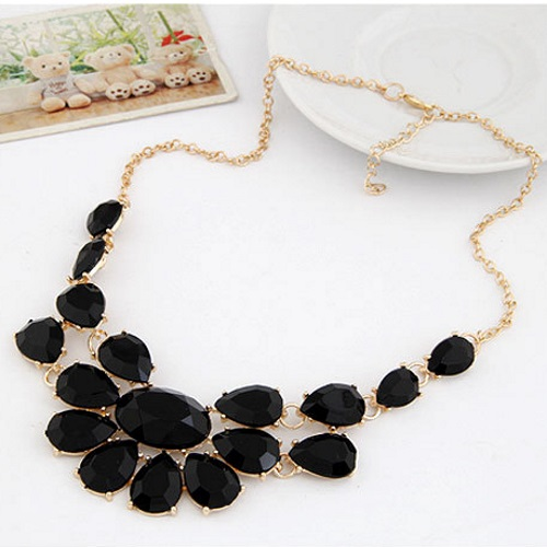 A-PJ-NJ719 Black Geometry Moon Gold Choker Necklace Shop - Click Image to Close