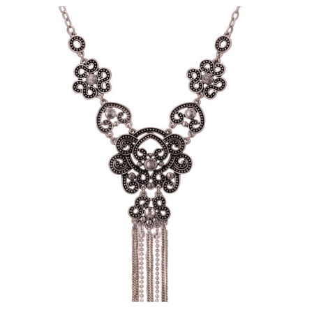 A-Q-Q9304 Antique silver elegant flowery statement necklace - Click Image to Close