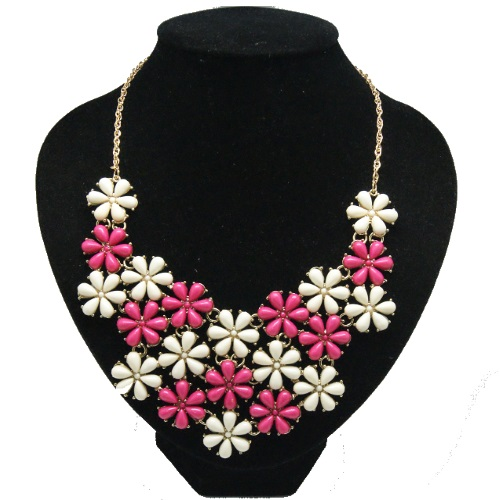 A-Q-9499 White Pink Flower Elegant Dinner Statement Necklace - Click Image to Close
