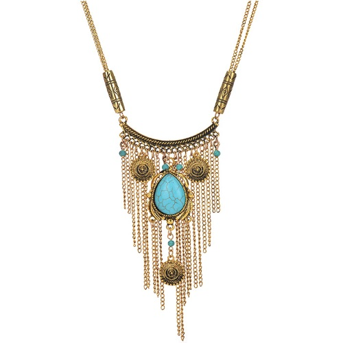 A-Q-Q9518V Vintage turquoise bead dangling long necklace malaysi - Click Image to Close