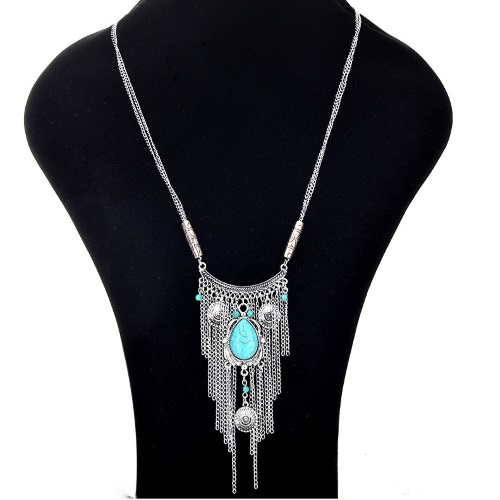A-Q-Q9518S Antique silver blue turquoise bead long necklace - Click Image to Close