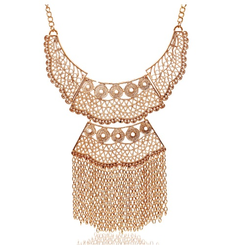 A-SJC-T217 Gold bohemian dangling chain statement necklace shop - Click Image to Close