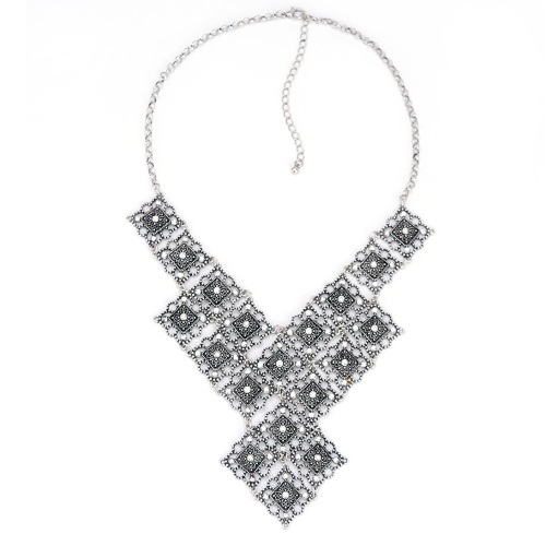 A-HD-N001884 Shiny Crystals Grey Layer Statement Necklace - Click Image to Close