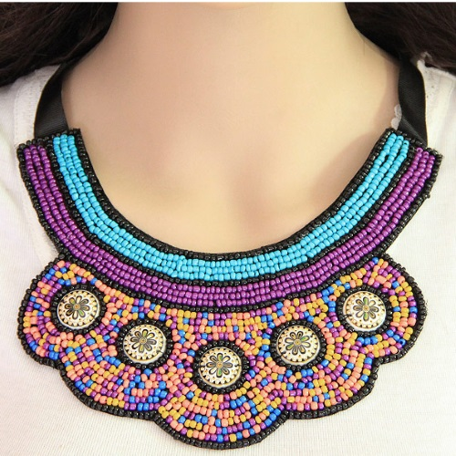 C11051029 Bohemian Colourful Arabian Ribbon Style Choker Necklac - Click Image to Close