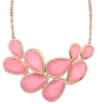 P107176 Pink leave chunky necklace malaysia accessories shop