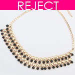 RD0182-Reject Design RD0182 - Black shiny statement necklace