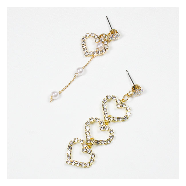 a-QK-0729 Unpaired Love Crystal Themed Dangling Pearls Earstuds - Click Image to Close