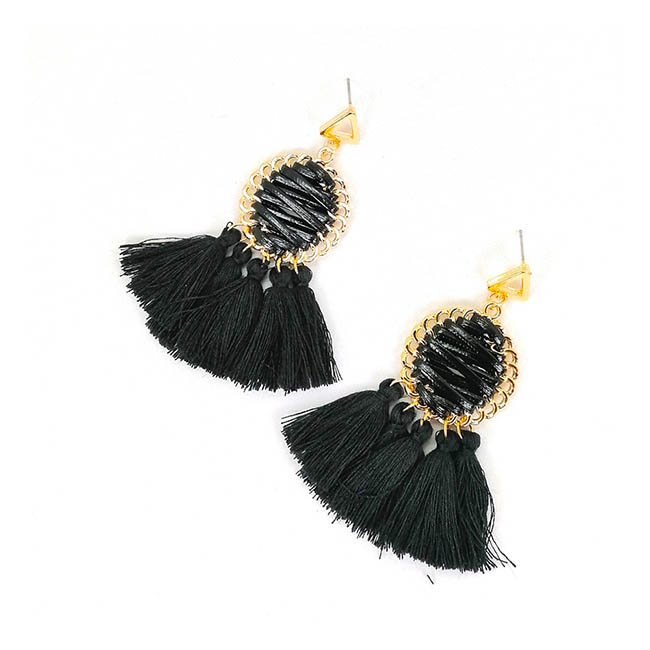 a-SD-XL286black Black Tassel Laced Up Summer String Earrings - Click Image to Close