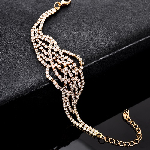 A-CJ-7116 Shiny Crystals Gold Dinner Elegant Bracelet - Click Image to Close