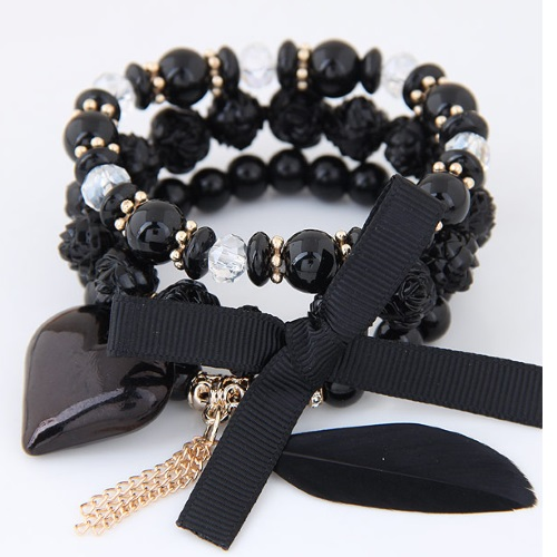 C110414128 Black Elastic Heart Charms Rose Feather Bracelet - Click Image to Close