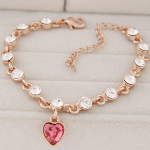 C14020943 Pink heart shiny crystals bracelet accessories shop