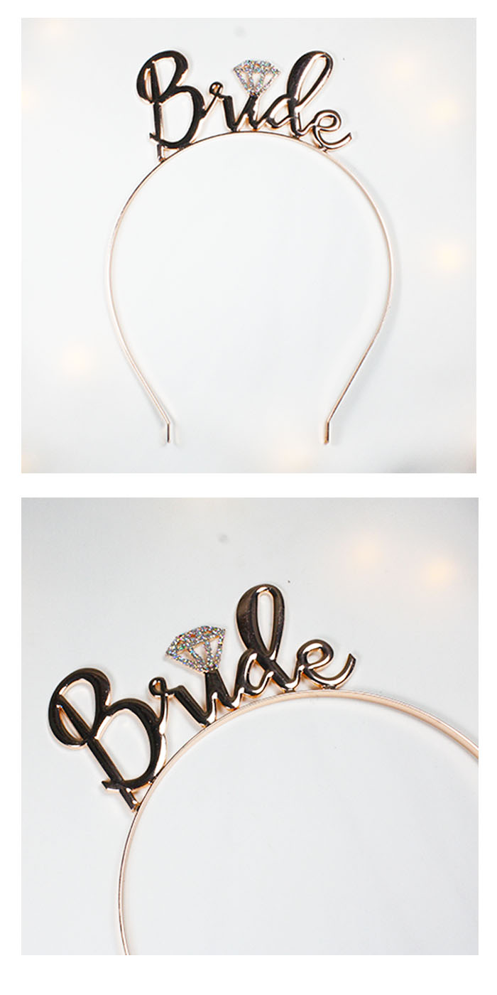 A-BB-100 Rose Gold & Glitters Bride Curvy Writing Headband