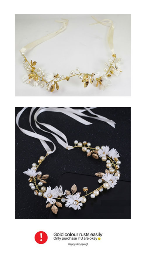 A-CT-FLow1 White Flower With Golden Leaves Wedding Hairband