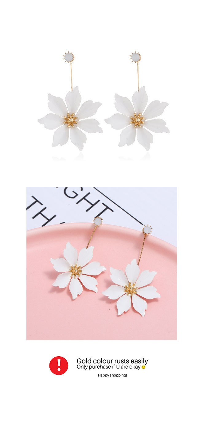 A-DW-21967white White Six Petals Lovely Design Earstuds Malaysia