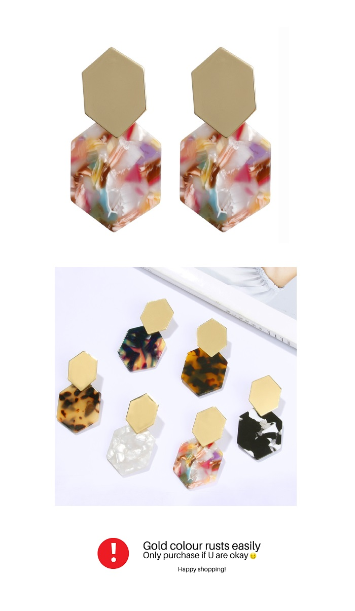 A-FX-E6044- Gold Colourful Square Earstuds Earrings