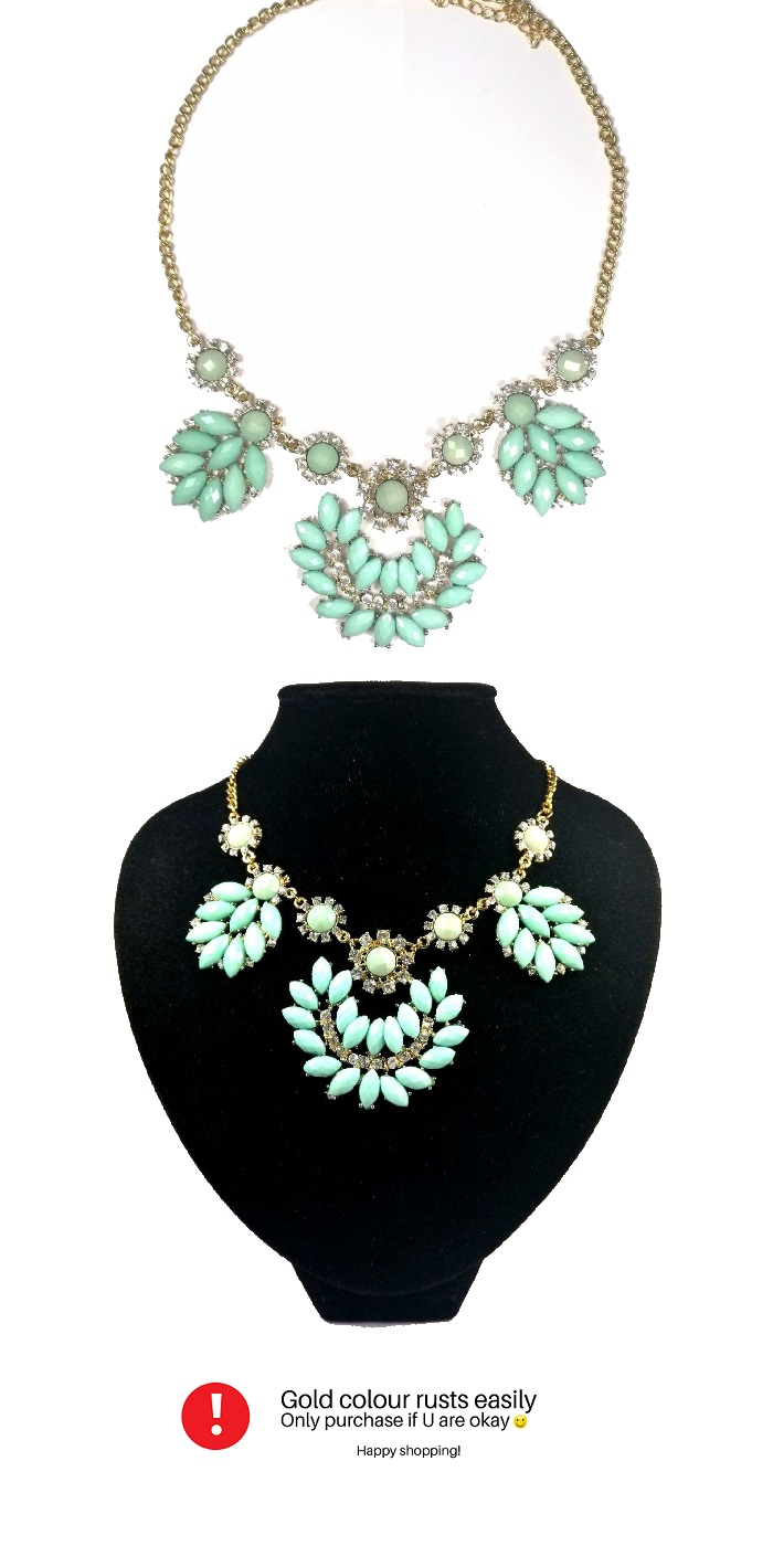 A-H2-X123blue Half Moon Blue Crystal Statement Necklace