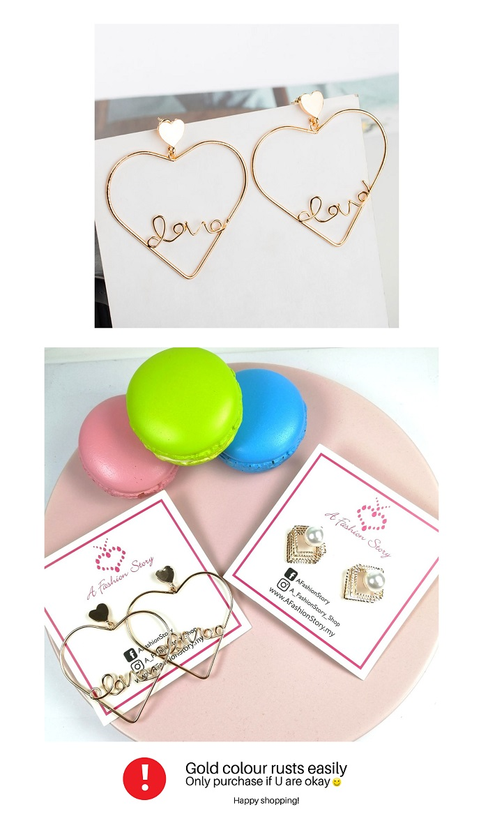A-JW-s17040542 Love Earrings GolD And Korean Style Malaysia