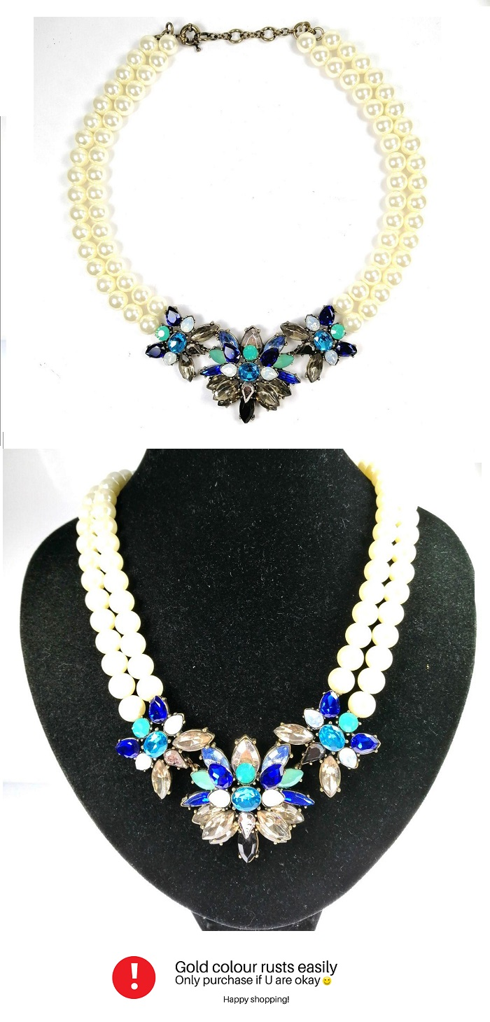 A-QDMSY-35 White Pearl Necklaces Blue Statement Malaysia