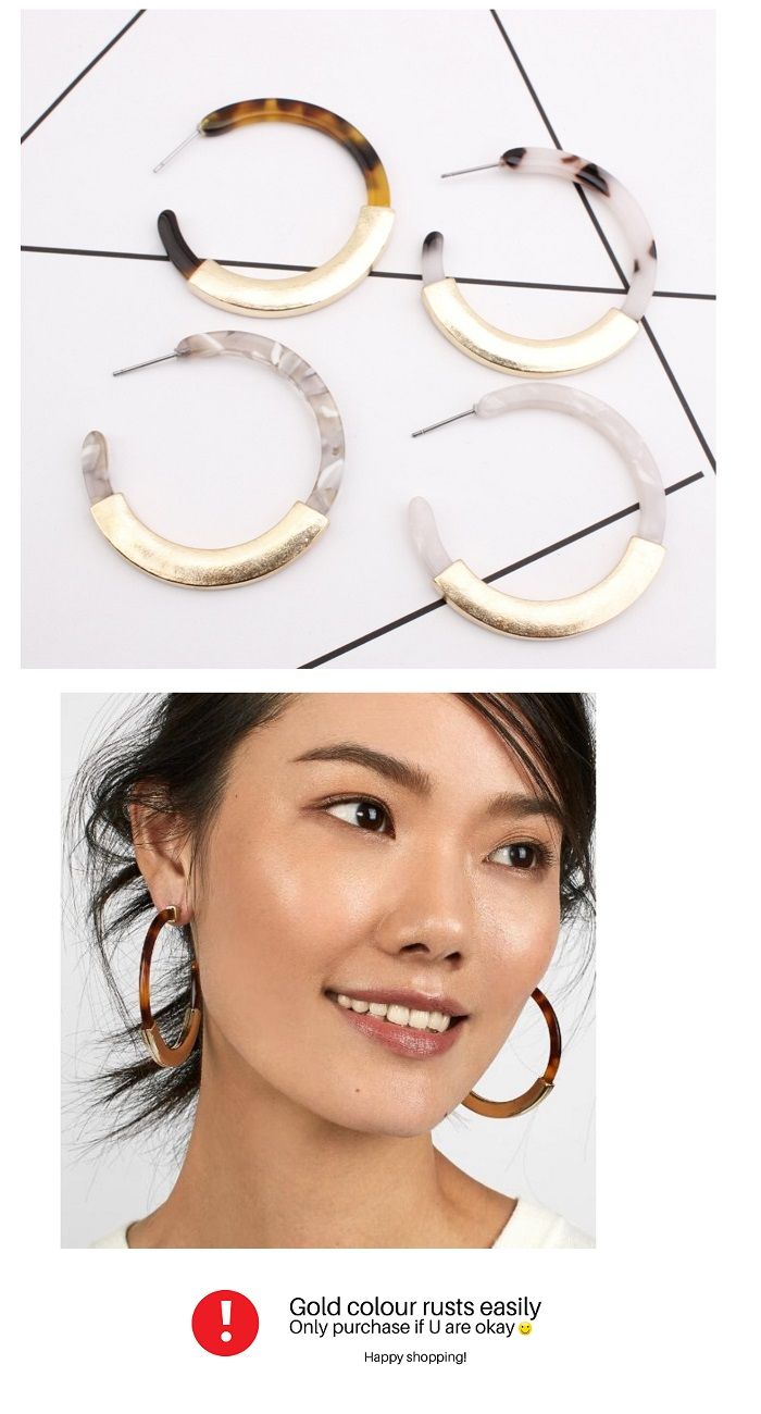 A-SD-XL0078 Brown Marble With Dark Yellow Brown Earrings