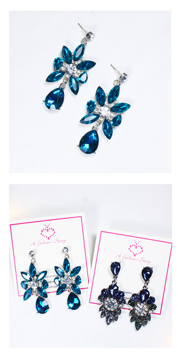 A-UK-104 Elegant Cyan Blue Crystal Beads Korean Earstuds