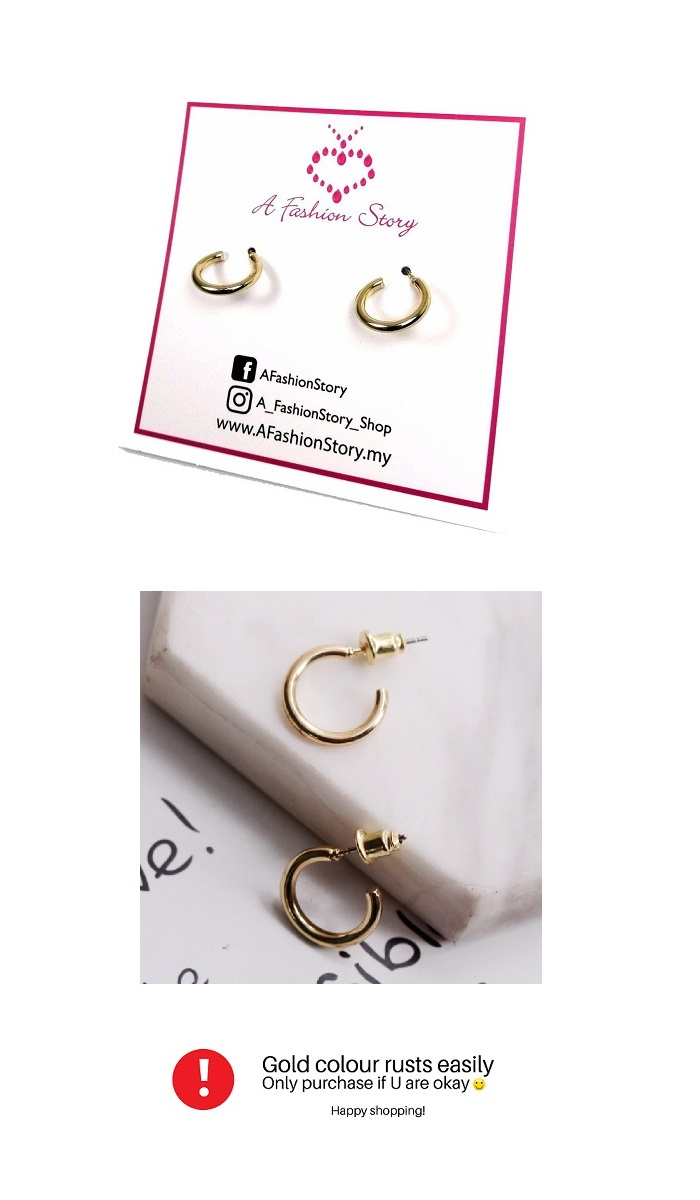 B-MLSF-CC39- Gold Classic Circle Korean Earstud Earring
