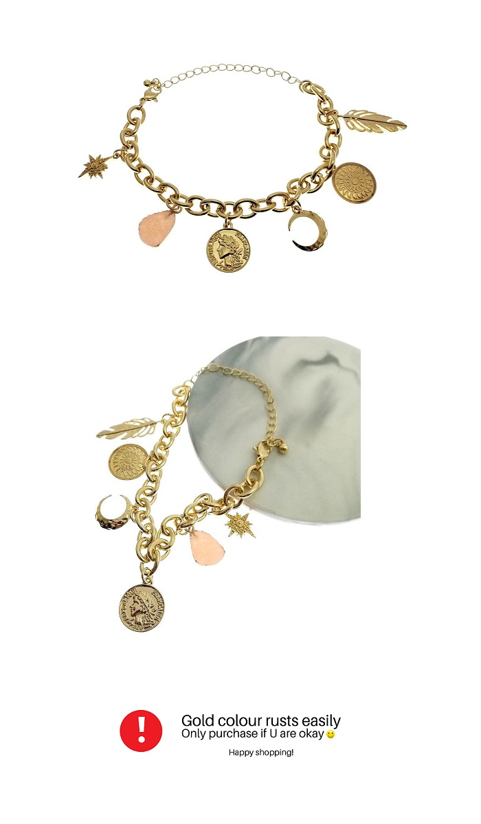 B-MLSF-SL63- Gold Leaf Moon Pink Female Face Bracelet