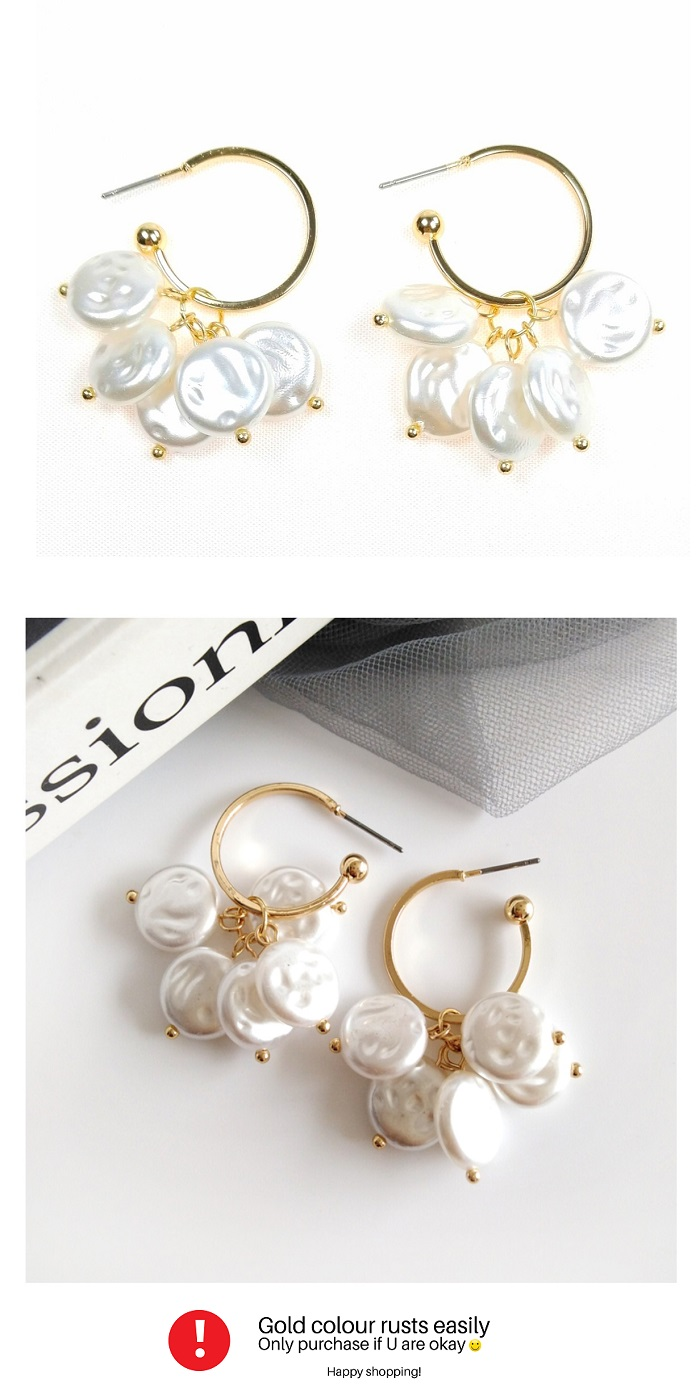 B-MSY-477E1 Pearl White Hoop Circle Korean Earrings Malaysia