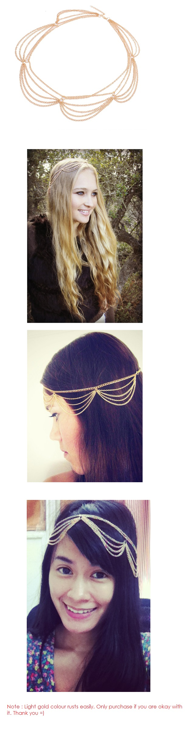A-ZL-F15 P105191 Dangling gold hair accessories korean shop