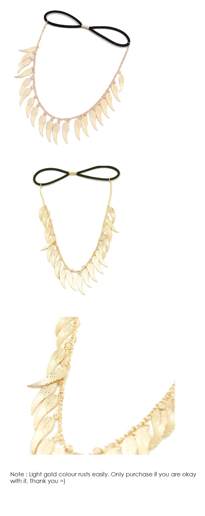 P107078 Wing dangling gold elastic headband accessories shop