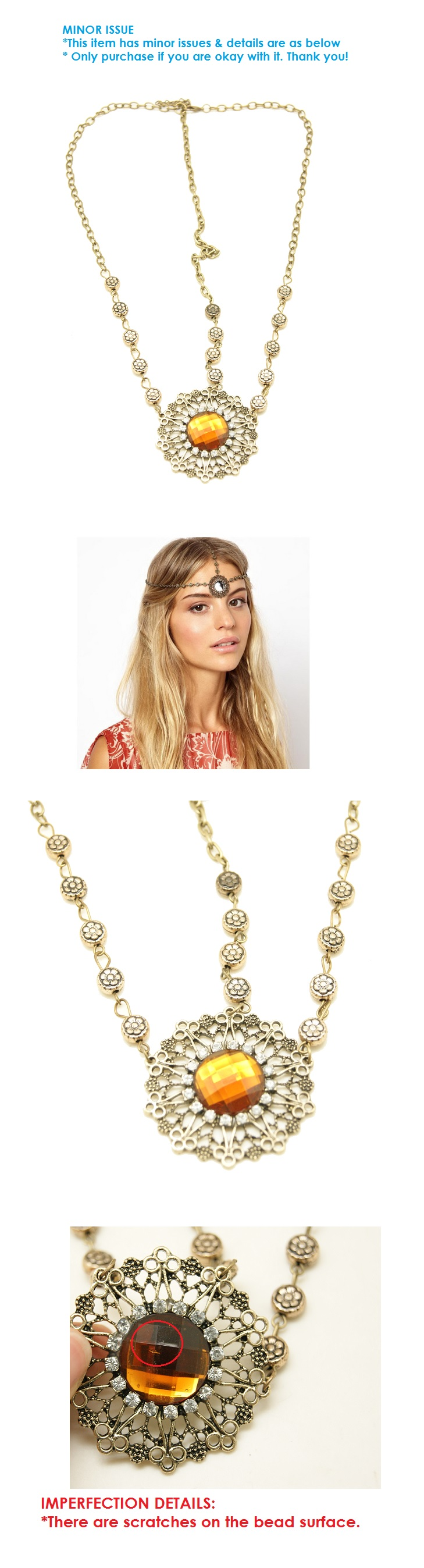 P109563 Vintage brown bead headchain hair accessories malaysia