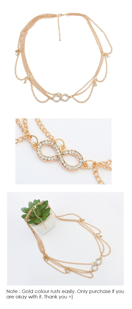 P110722 Ribbon bow crystals dangling korean hair chain shop